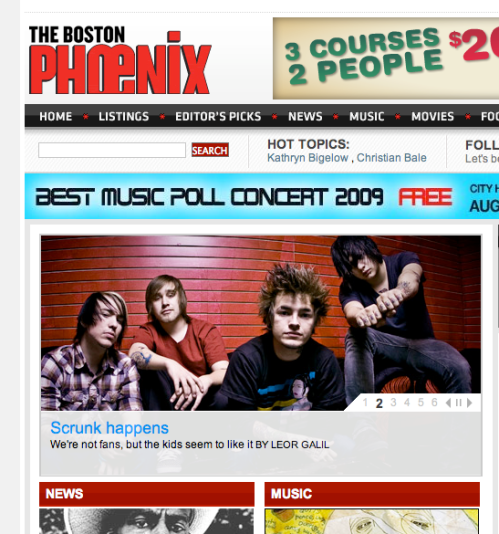 front page of the Boston Phoenix